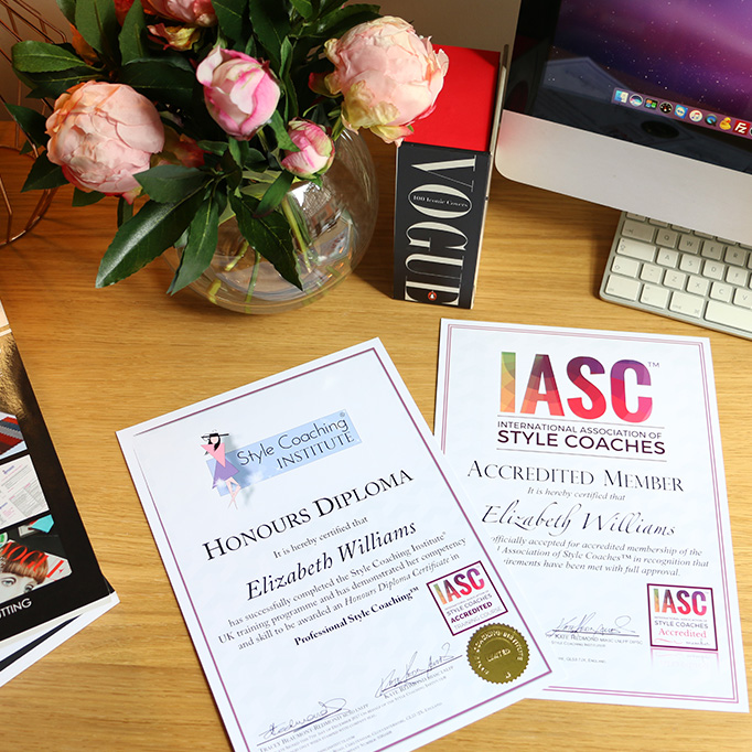 A table top with the style coaching institute diploma and & Association certificate