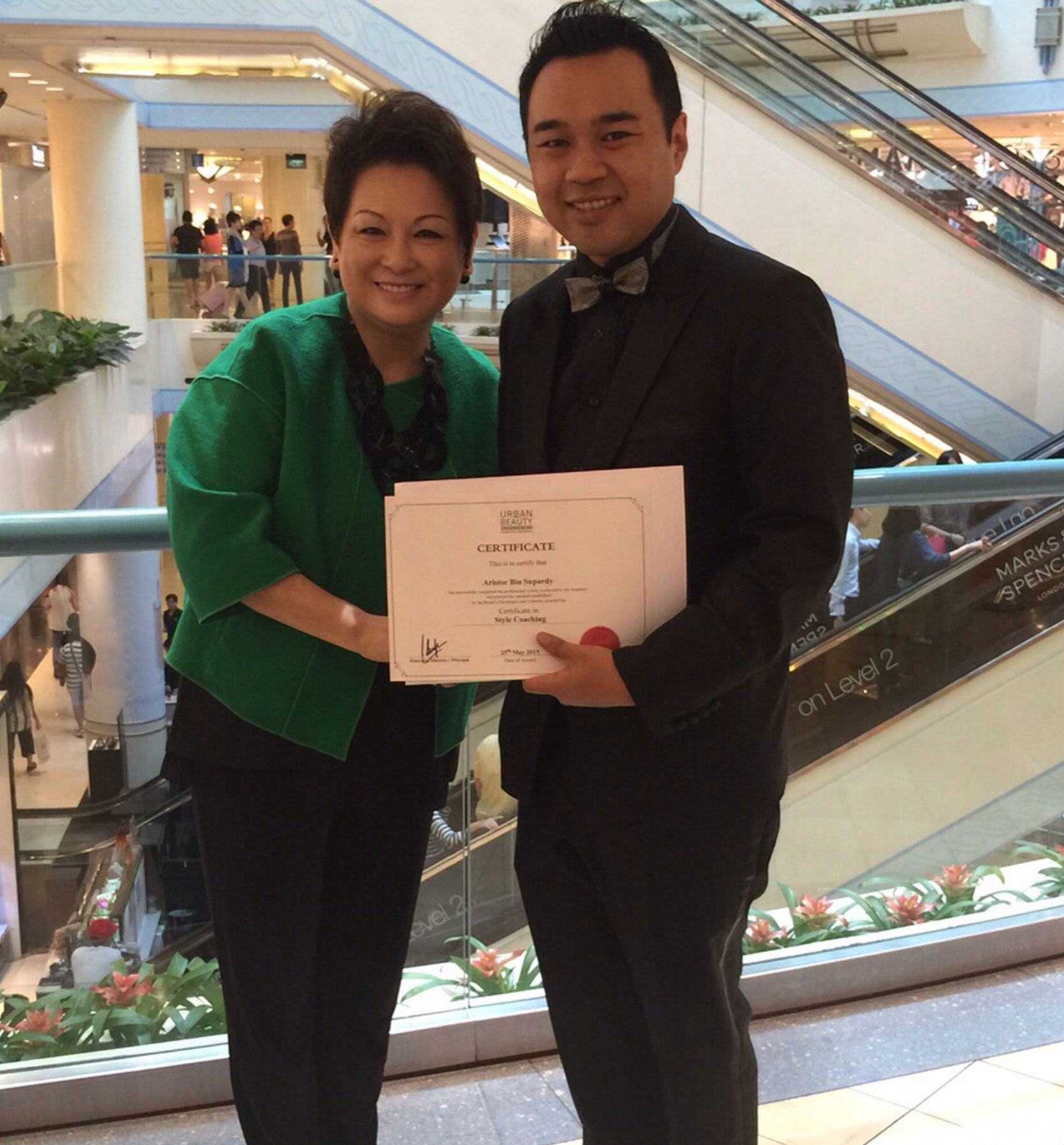 Theresa Huang Style Coaching Trainer with a student in Singapore